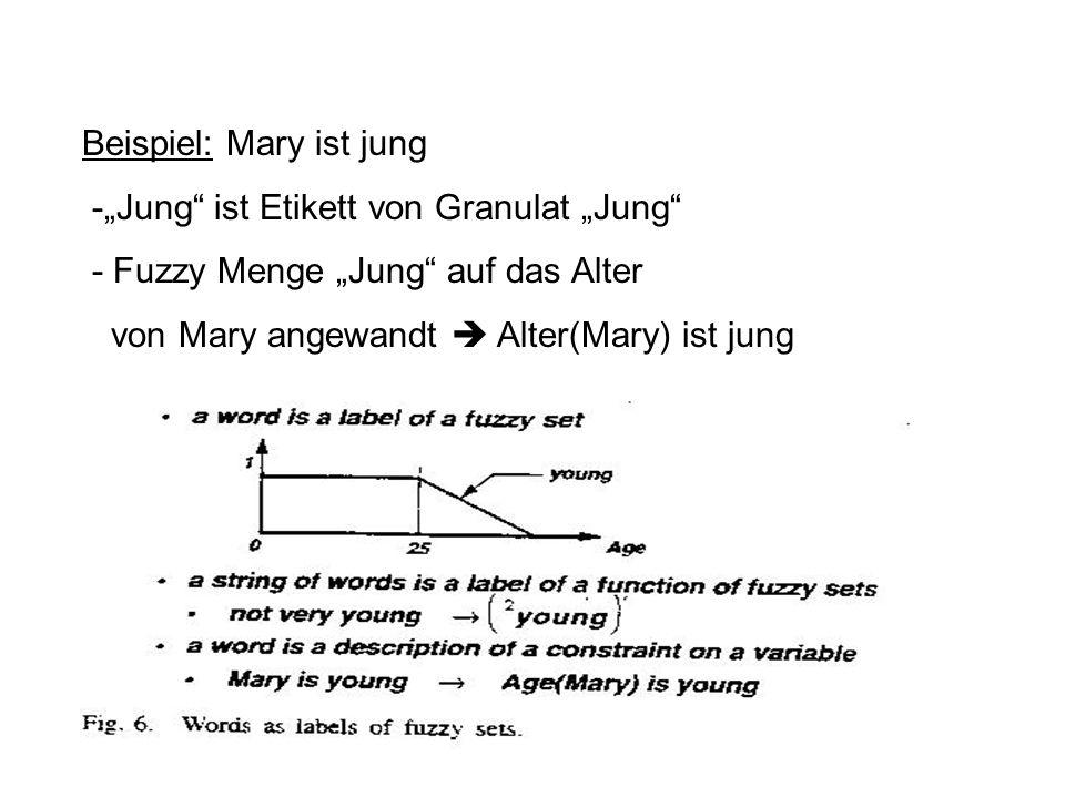 Beispiel: Mary ist jung -Jung ist Etikett von Granulat Jung - Fuzzy Menge Jung auf das Alter von Mary angewandt Alter(Mary) ist jung