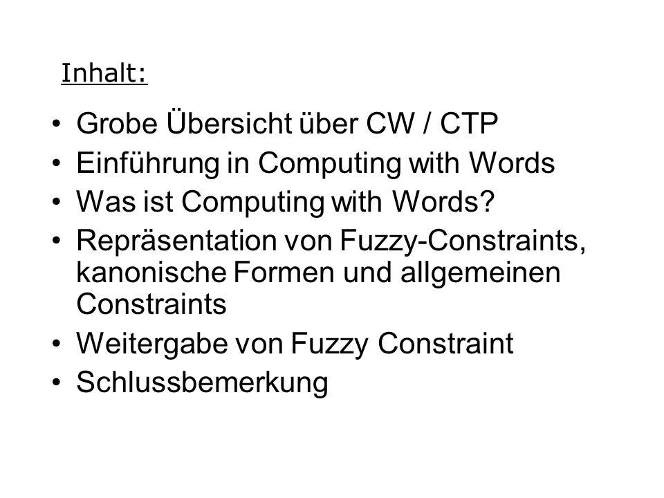 Grobe Übersicht über CW / CTP Einführung in Computing with Words Was ist Computing with Words.