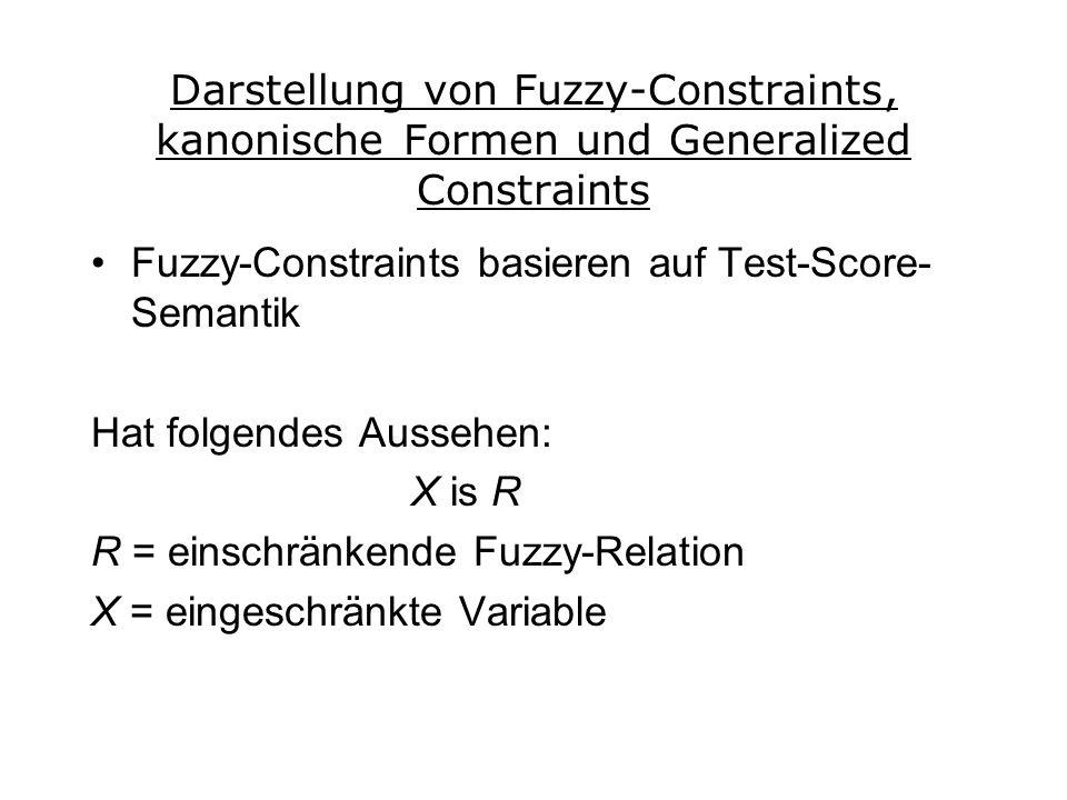 Darstellung von Fuzzy-Constraints, kanonische Formen und Generalized Constraints Fuzzy-Constraints basieren auf Test-Score- Semantik Hat folgendes Aussehen: X is R R = einschränkende Fuzzy-Relation X = eingeschränkte Variable