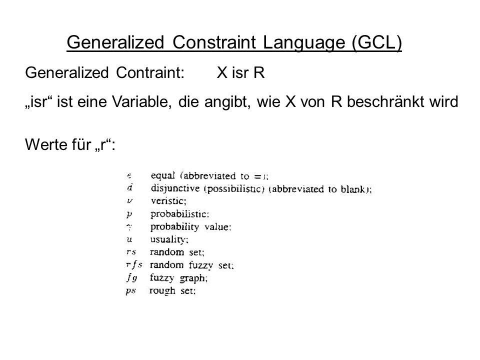 Generalized Constraint Language (GCL) Werte für r: Generalized Contraint: X isr R isr ist eine Variable, die angibt, wie X von R beschränkt wird