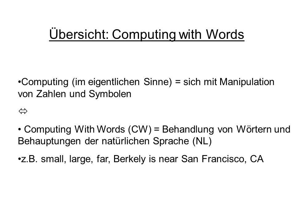 Übersicht: Computing with Words Computing (im eigentlichen Sinne) = sich mit Manipulation von Zahlen und Symbolen Computing With Words (CW) = Behandlung von Wörtern und Behauptungen der natürlichen Sprache (NL) z.B.