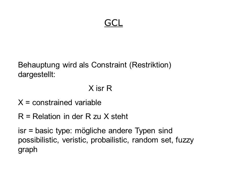 Behauptung wird als Constraint (Restriktion) dargestellt: X isr R X = constrained variable R = Relation in der R zu X steht isr = basic type: mögliche andere Typen sind possibilistic, veristic, probailistic, random set, fuzzy graph GCL