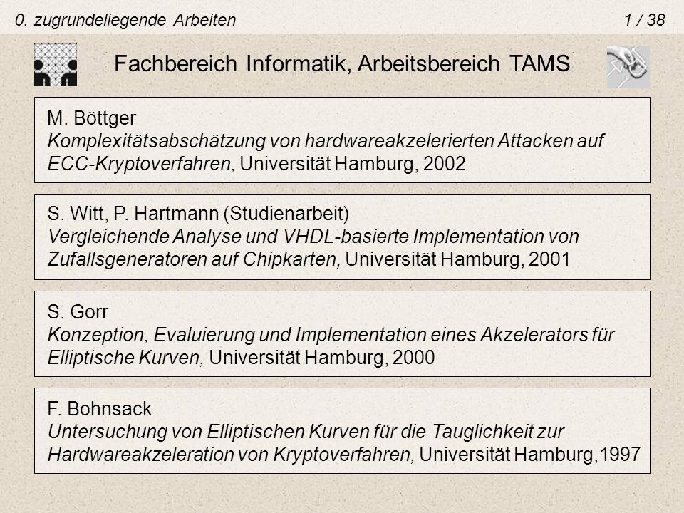0. zugrundeliegende Arbeiten1 / 38 Fachbereich Informatik, Arbeitsbereich TAMS S. Witt, P. Hartmann (Studienarbeit) Vergleichende Analyse und VHDL-bas