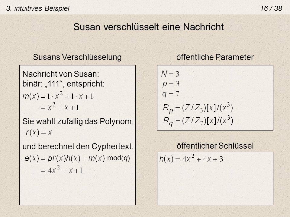 Susan verschlüsselt eine Nachricht öffentliche ParameterSusans Verschlüsselung öffentlicher Schlüssel Sie wählt zufällig das Polynom: Nachricht von Su