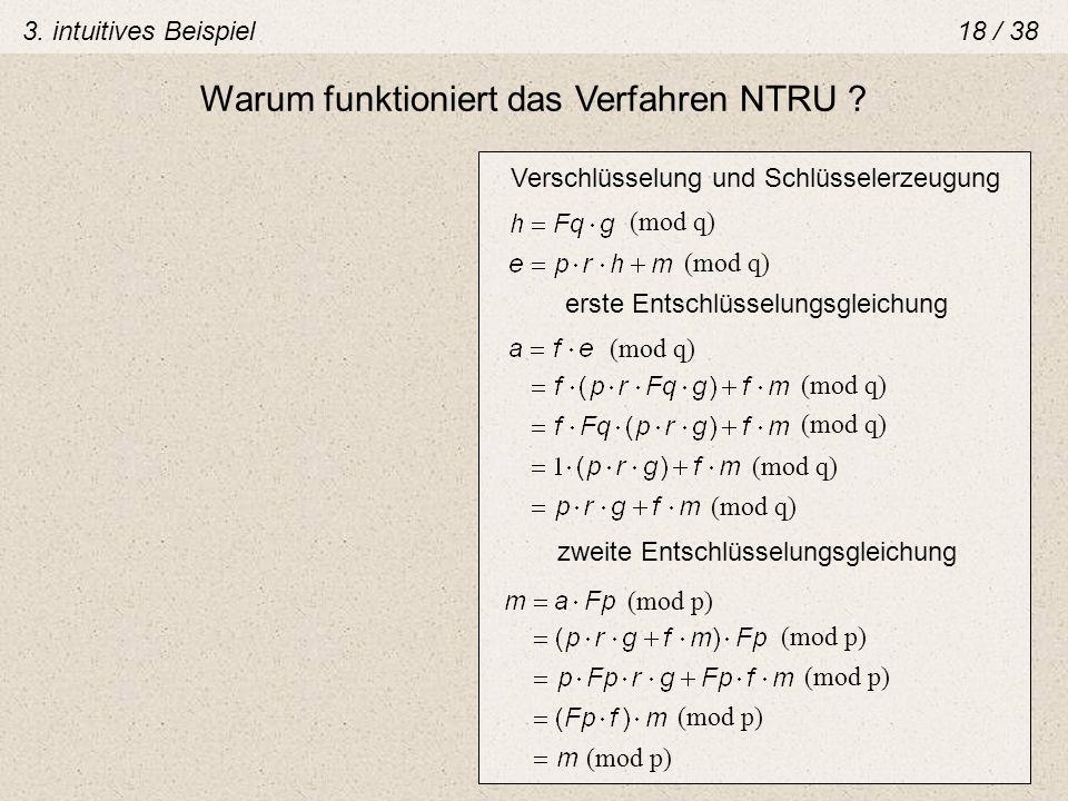 Verschlüsselung und Schlüsselerzeugung (mod q) erste Entschlüsselungsgleichung (mod q) zweite Entschlüsselungsgleichung (mod p) Warum funktioniert das