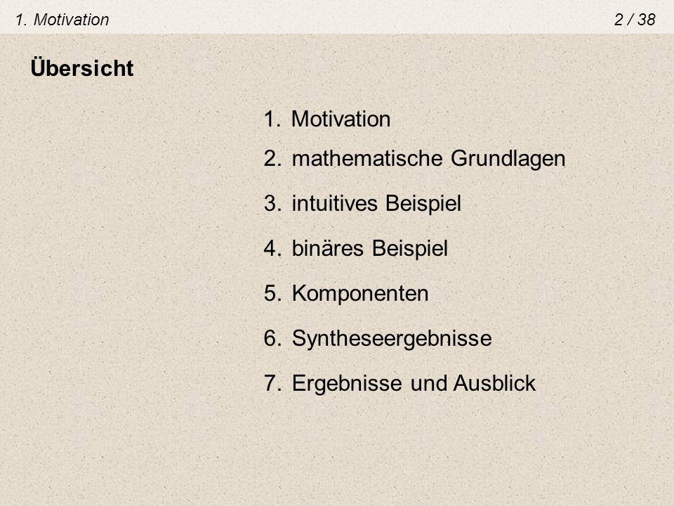 1. Motivation2 / 38 Übersicht 1.Motivation 2.mathematische Grundlagen 3.intuitives Beispiel 4.binäres Beispiel 5.Komponenten 6.Syntheseergebnisse 7.Er