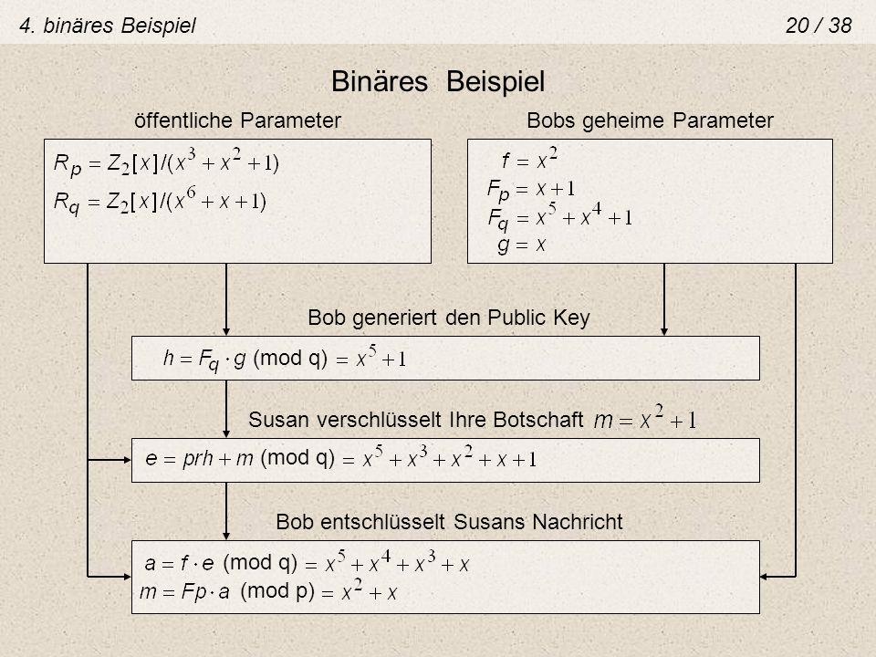 Binäres Beispiel öffentliche ParameterBobs geheime Parameter Bob generiert den Public Key (mod q) Bob entschlüsselt Susans Nachricht (mod q) (mod p) 4
