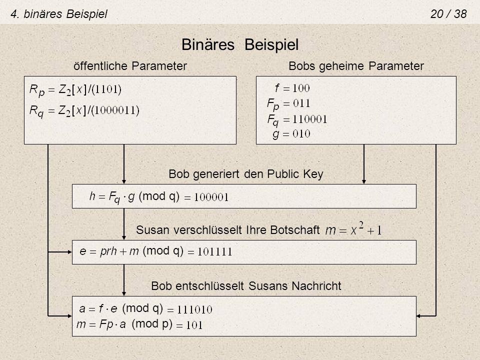 Binäres Beispiel öffentliche ParameterBobs geheime Parameter Bob generiert den Public Key (mod q) Susan verschlüsselt Ihre Botschaft (mod q) Bob entsc