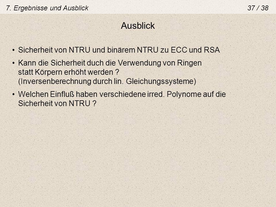 Ausblick Sicherheit von NTRU und binärem NTRU zu ECC und RSA Kann die Sicherheit duch die Verwendung von Ringen statt Körpern erhöht werden ? (Inverse
