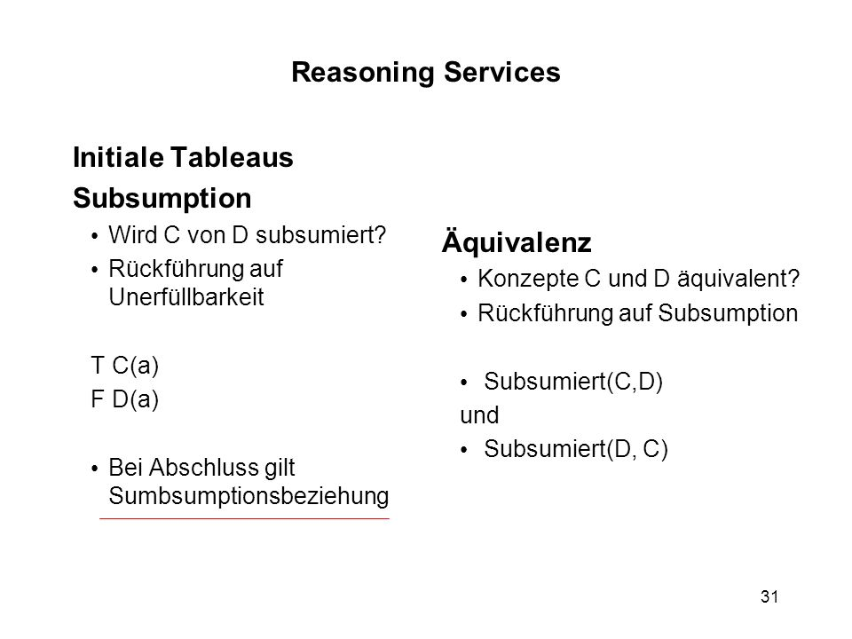 31 Reasoning Services Initiale Tableaus Subsumption Wird C von D subsumiert.