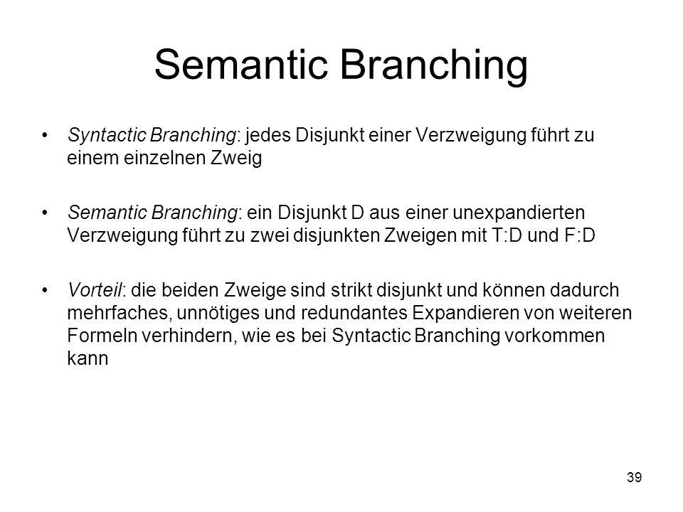 39 Semantic Branching Syntactic Branching: jedes Disjunkt einer Verzweigung führt zu einem einzelnen Zweig Semantic Branching: ein Disjunkt D aus einer unexpandierten Verzweigung führt zu zwei disjunkten Zweigen mit T:D und F:D Vorteil: die beiden Zweige sind strikt disjunkt und können dadurch mehrfaches, unnötiges und redundantes Expandieren von weiteren Formeln verhindern, wie es bei Syntactic Branching vorkommen kann