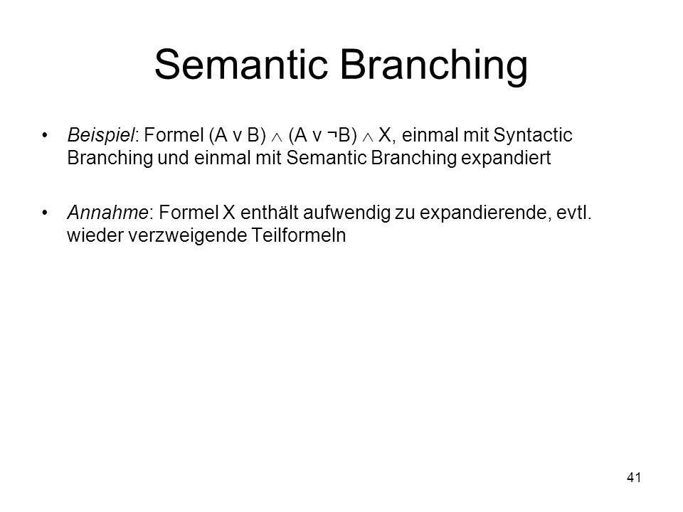 41 Semantic Branching Beispiel: Formel (A ν B) (A ν ¬B) X, einmal mit Syntactic Branching und einmal mit Semantic Branching expandiert Annahme: Formel X enthält aufwendig zu expandierende, evtl.