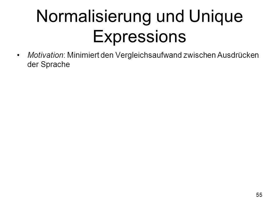 55 Normalisierung und Unique Expressions Motivation: Minimiert den Vergleichsaufwand zwischen Ausdrücken der Sprache