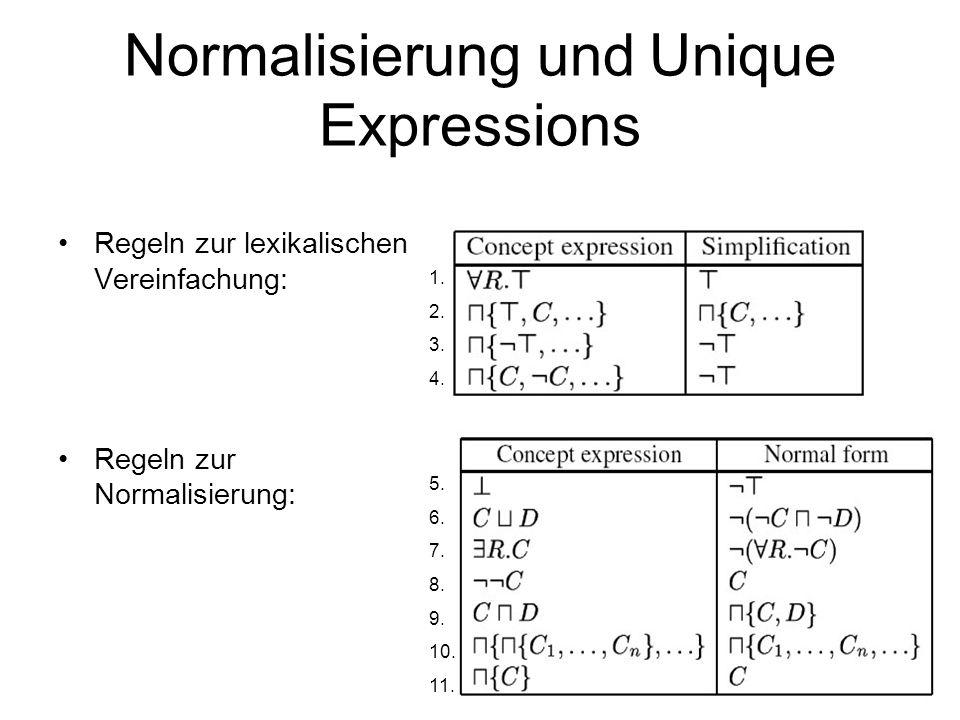 60 Normalisierung und Unique Expressions Regeln zur lexikalischen Vereinfachung: Regeln zur Normalisierung: 1.