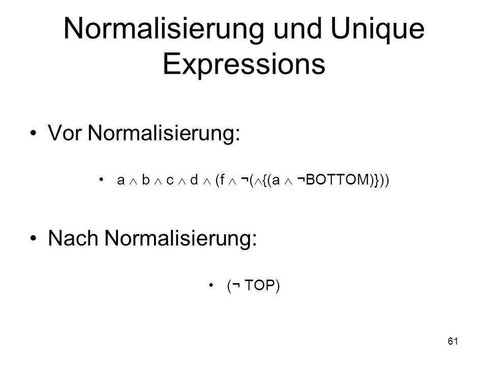 61 Normalisierung und Unique Expressions Vor Normalisierung: a b c d (f ¬( { (a ¬BOTTOM)})) Nach Normalisierung: (¬ TOP)