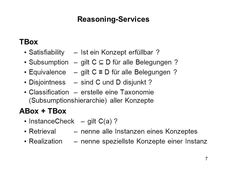 7 Reasoning-Services TBox Satisfiability–Ist ein Konzept erfüllbar .