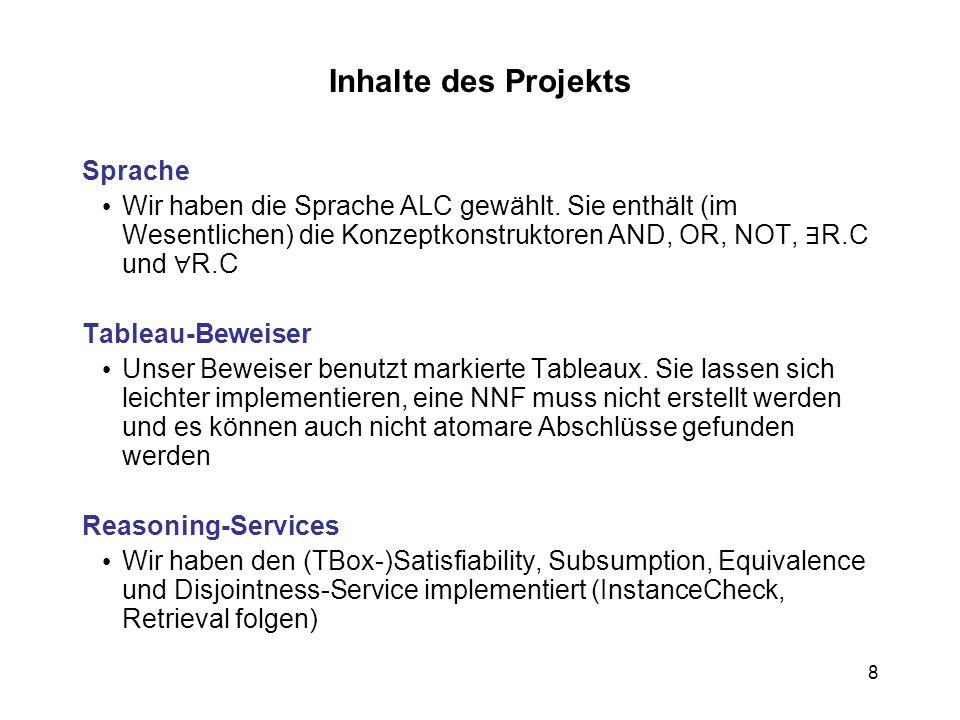 8 Inhalte des Projekts Sprache Wir haben die Sprache ALC gewählt.