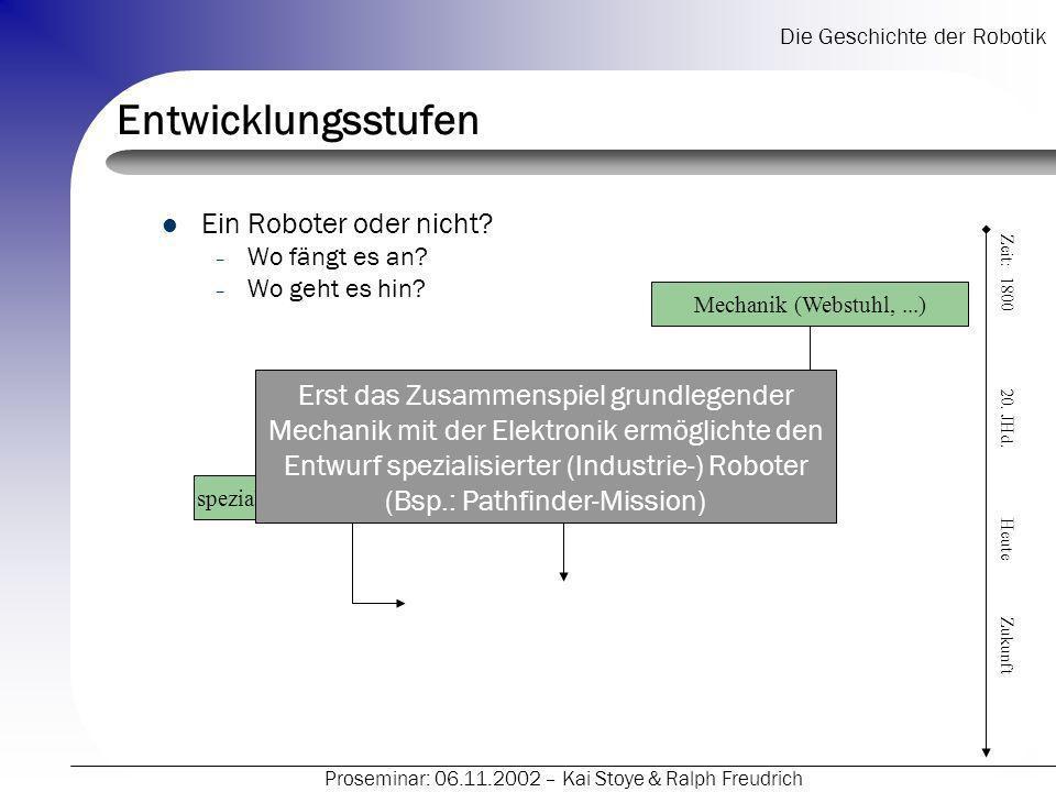 Die Geschichte der Robotik Proseminar: 06.11.2002 – Kai Stoye & Ralph Freudrich Entwicklungsstufen Ein Roboter oder nicht? – Wo fängt es an? – Wo geht
