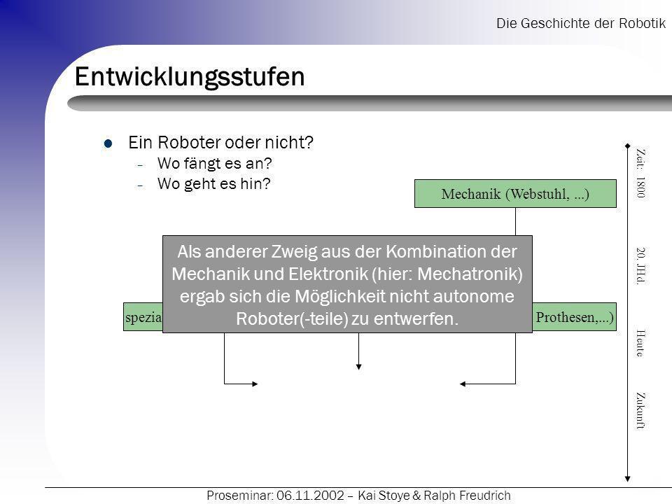 Die Geschichte der Robotik Proseminar: 06.11.2002 – Kai Stoye & Ralph Freudrich Entwicklungsstufen Ein Roboter oder nicht.