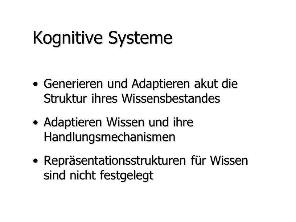 Kognitive Systeme Generieren und Adaptieren akut die Struktur ihres WissensbestandesGenerieren und Adaptieren akut die Struktur ihres Wissensbestandes