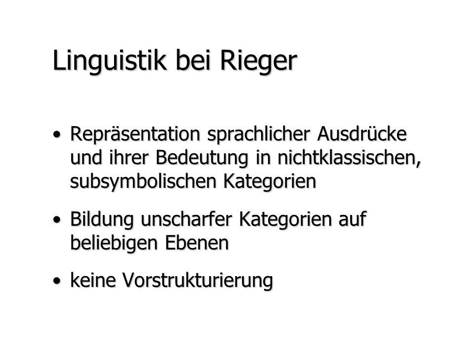 Linguistik bei Rieger Repräsentation sprachlicher Ausdrücke und ihrer Bedeutung in nichtklassischen, subsymbolischen KategorienRepräsentation sprachli