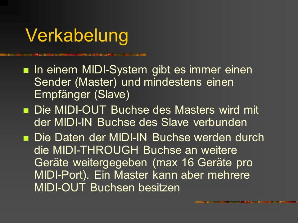 Verkabelung In einem MIDI-System gibt es immer einen Sender (Master) und mindestens einen Empfänger (Slave) Die MIDI-OUT Buchse des Masters wird mit der MIDI-IN Buchse des Slave verbunden Die Daten der MIDI-IN Buchse werden durch die MIDI-THROUGH Buchse an weitere Geräte weitergegeben (max 16 Geräte pro MIDI-Port).