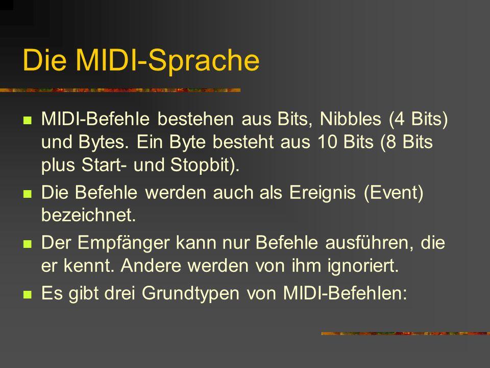 Die MIDI-Sprache MIDI-Befehle bestehen aus Bits, Nibbles (4 Bits) und Bytes.