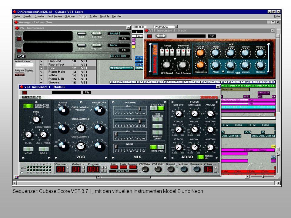 Sequenzer: Cubase Score VST 3.7.1, mit den virtuellen Instrumenten Model E und Neon