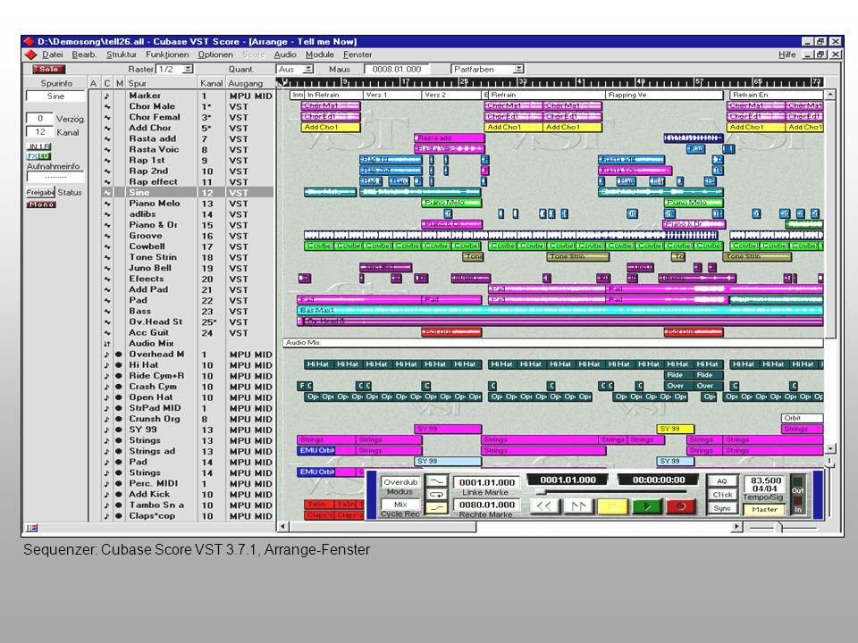 Virtuelle Instrumente Die rasante Entwicklung der Software und die Leistungssteigerung der Computer lässt es zu, dass Instrumente, also Klangerzeuger, simuliert werden können - ohne zusätzliche Hardware Software-Instrumente wachsen ständig in ihrer Leistungsfähigkeit, sie sind im Vergleich zu einem Hardware-Instrument preiswerter, flexibler, ergonomischer und einfacher erweiterbar Virtuelle Instrumente werden Wirklichkeit...