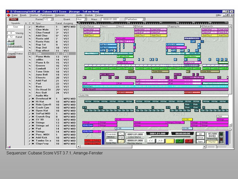 Sequenzer: Cubase Score VST 3.7.1, Arrange-Fenster