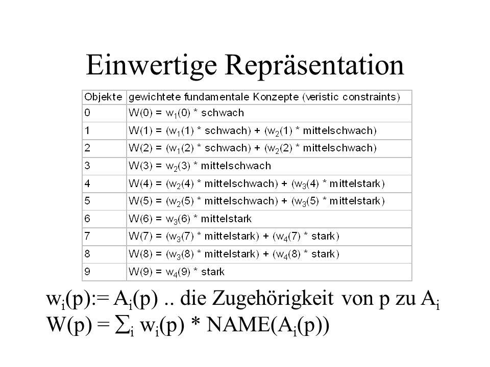 Einwertige Repräsentation w i (p):= A i (p)..