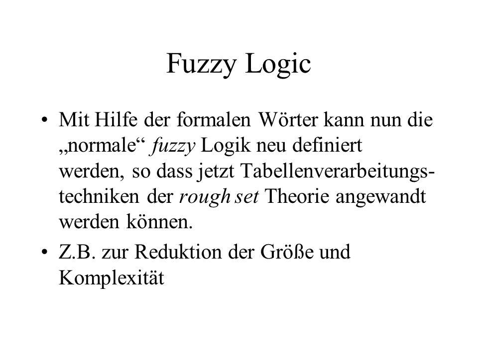 Fuzzy Logic Mit Hilfe der formalen Wörter kann nun die normale fuzzy Logik neu definiert werden, so dass jetzt Tabellenverarbeitungs- techniken der rough set Theorie angewandt werden können.