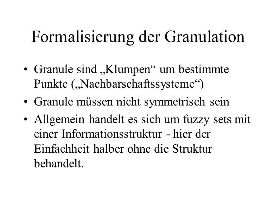 Formalisierung der Granulation Granule sind Klumpen um bestimmte Punkte (Nachbarschaftssysteme) Granule müssen nicht symmetrisch sein Allgemein handelt es sich um fuzzy sets mit einer Informationsstruktur - hier der Einfachheit halber ohne die Struktur behandelt.