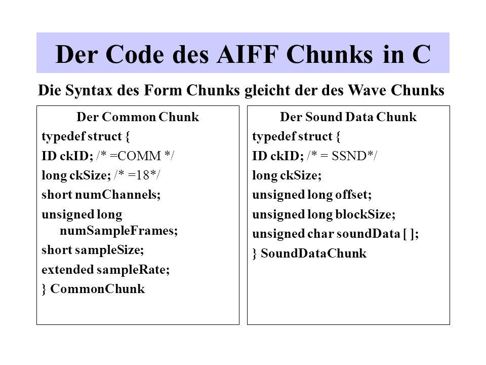 Der Common Chunk typedef struct { ID ckID; /* =COMM */ long ckSize; /* =18*/ short numChannels; unsigned long numSampleFrames; short sampleSize; exten