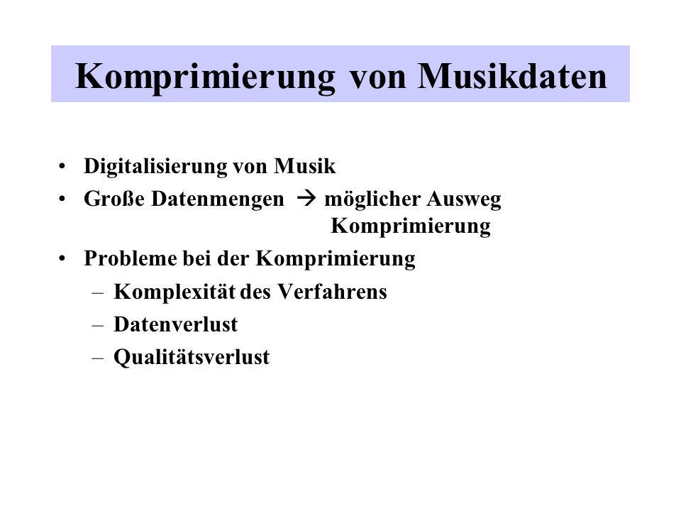 Komprimierung von Musikdaten Digitalisierung von Musik Große Datenmengen möglicher Ausweg Komprimierung Probleme bei der Komprimierung –Komplexität de