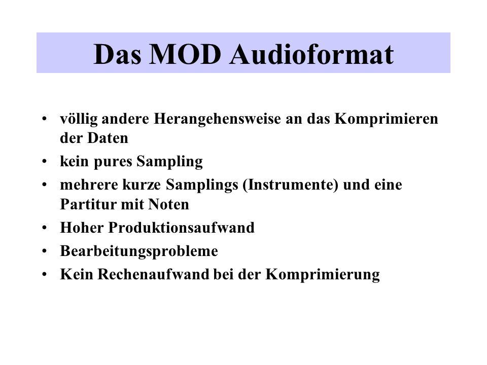 Das MOD Audioformat völlig andere Herangehensweise an das Komprimieren der Daten kein pures Sampling mehrere kurze Samplings (Instrumente) und eine Pa