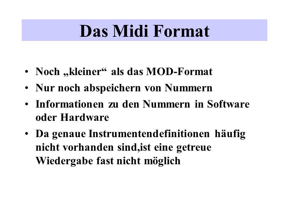 Das Midi Format Noch kleiner als das MOD-Format Nur noch abspeichern von Nummern Informationen zu den Nummern in Software oder Hardware Da genaue Inst