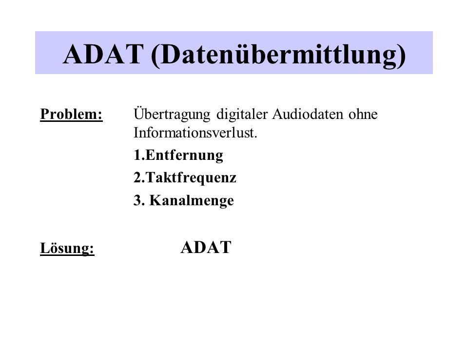 ADAT (Datenübermittlung) Problem:Übertragung digitaler Audiodaten ohne Informationsverlust. 1.Entfernung 2.Taktfrequenz 3. Kanalmenge Lösung: ADAT
