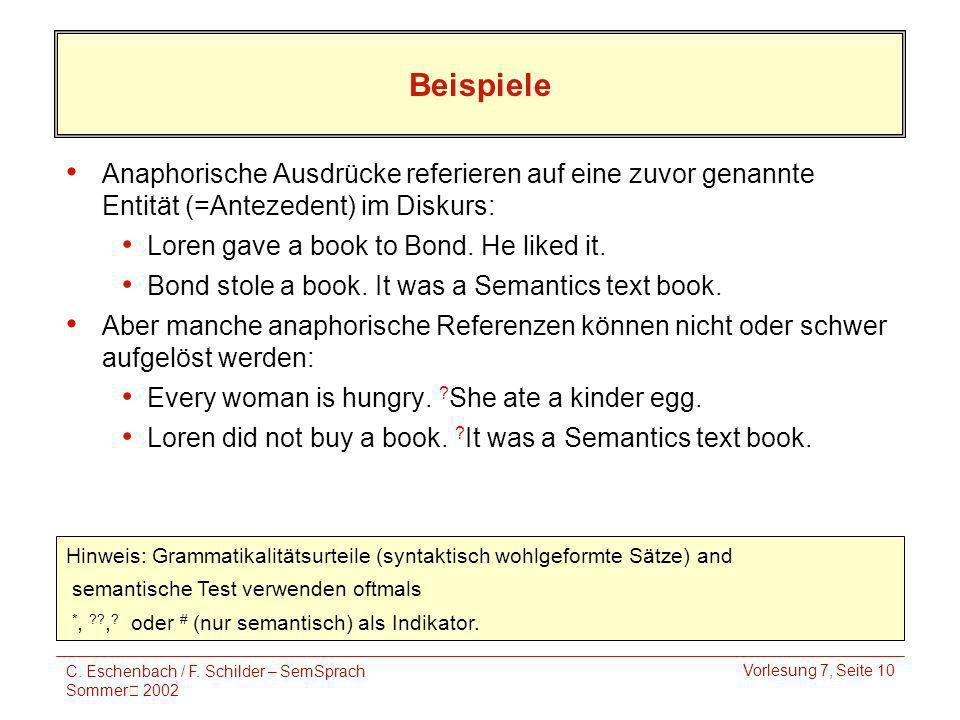 C. Eschenbach / F. Schilder – SemSprach Sommer 2002 Vorlesung 7, Seite 10 Beispiele Anaphorische Ausdrücke referieren auf eine zuvor genannte Entität
