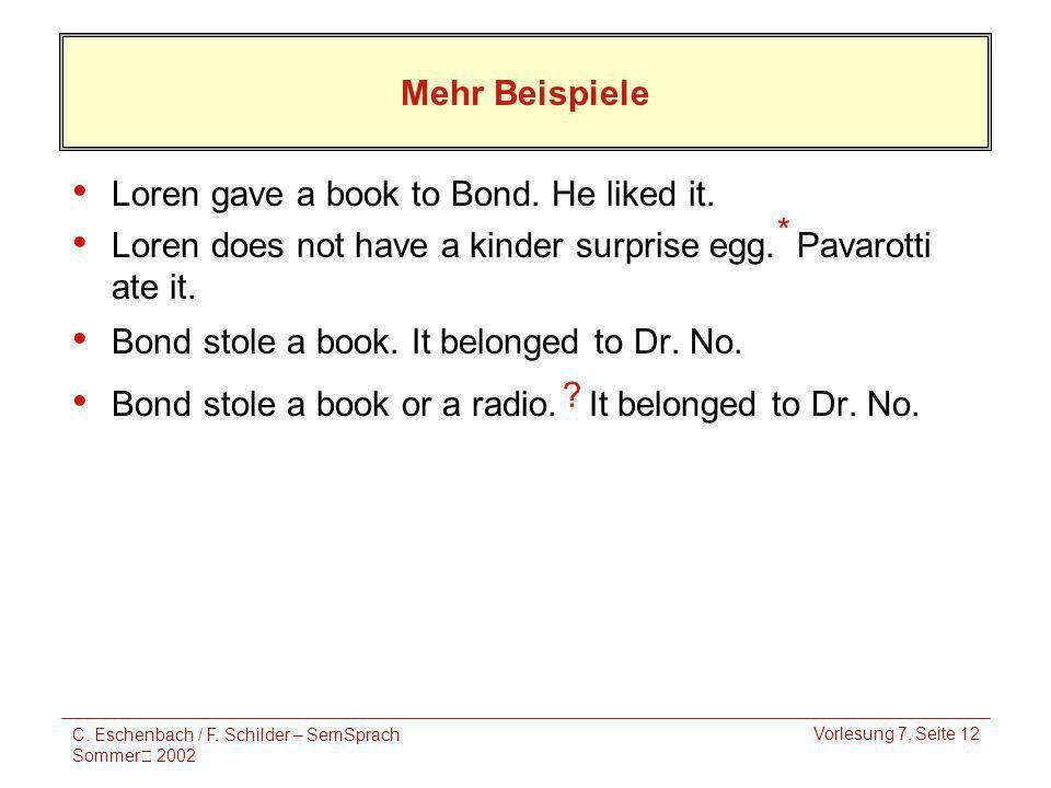 C. Eschenbach / F. Schilder – SemSprach Sommer 2002 Vorlesung 7, Seite 12 Mehr Beispiele Loren gave a book to Bond. He liked it. Loren does not have a