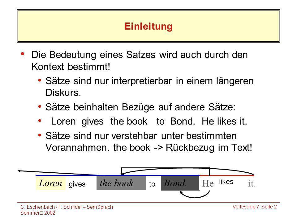 C. Eschenbach / F. Schilder – SemSprach Sommer 2002 Vorlesung 7, Seite 2 Lorenthe book Bond. Heit. Einleitung Die Bedeutung eines Satzes wird auch dur