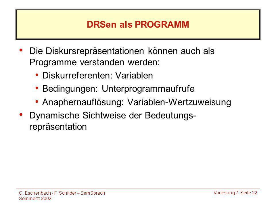 C. Eschenbach / F. Schilder – SemSprach Sommer 2002 Vorlesung 7, Seite 22 DRSen als PROGRAMM Die Diskursrepräsentationen können auch als Programme ver