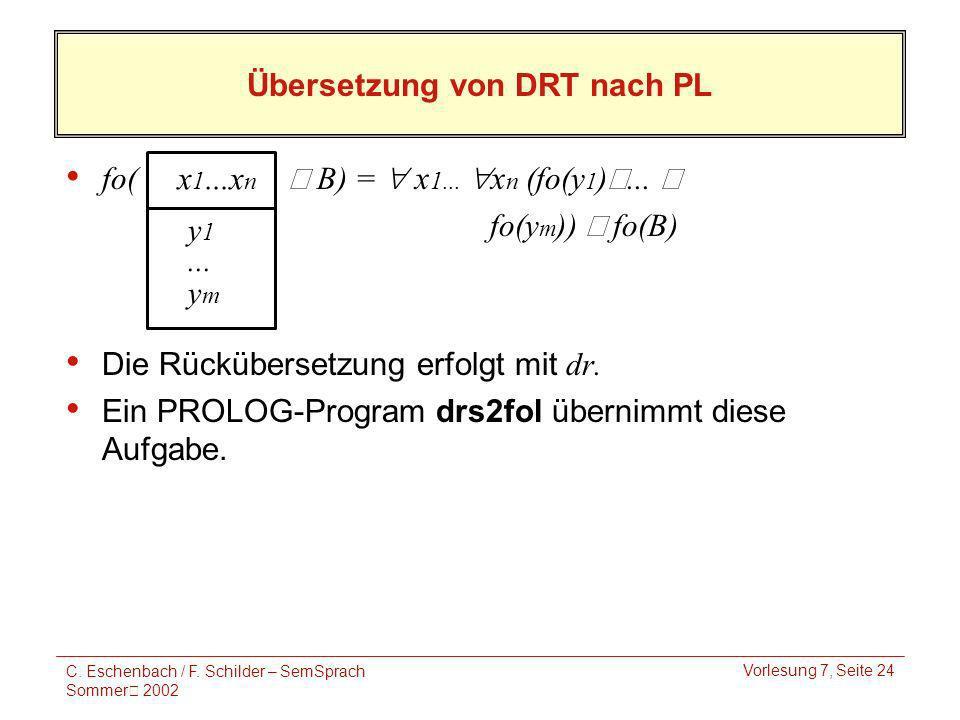 C. Eschenbach / F. Schilder – SemSprach Sommer 2002 Vorlesung 7, Seite 24 Übersetzung von DRT nach PL fo( B) = x 1... x n (fo(y 1 ) Ÿ... Ÿ fo(y m )) f