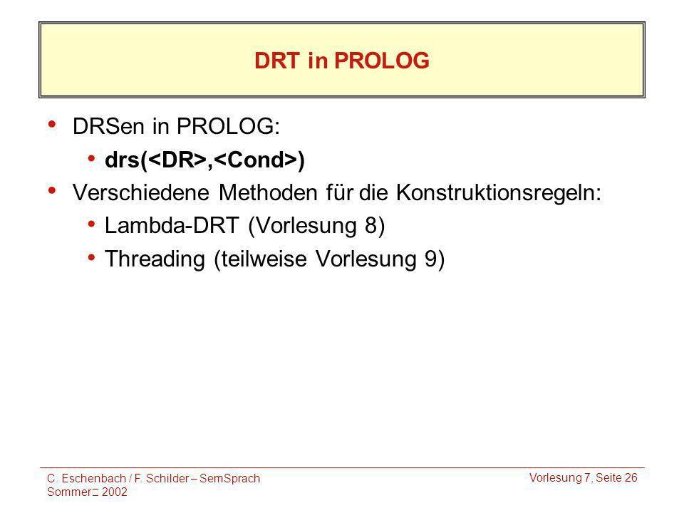 C. Eschenbach / F. Schilder – SemSprach Sommer 2002 Vorlesung 7, Seite 26 DRT in PROLOG DRSen in PROLOG: drs(, ) Verschiedene Methoden für die Konstru
