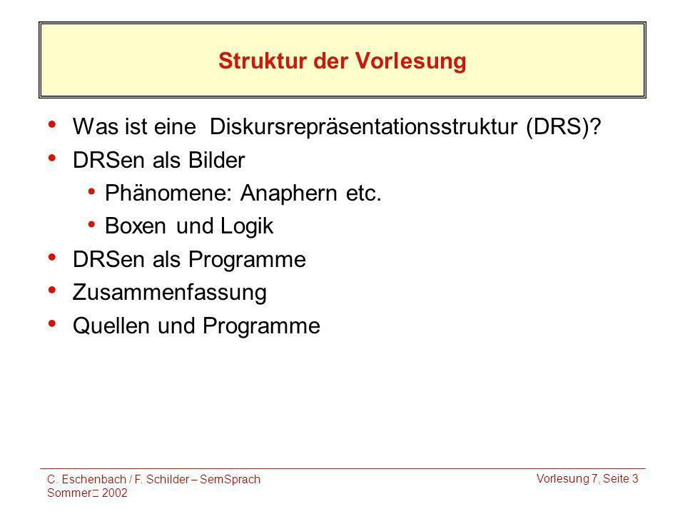 C. Eschenbach / F. Schilder – SemSprach Sommer 2002 Vorlesung 7, Seite 3 Struktur der Vorlesung Was ist eine Diskursrepräsentationsstruktur (DRS)? DRS