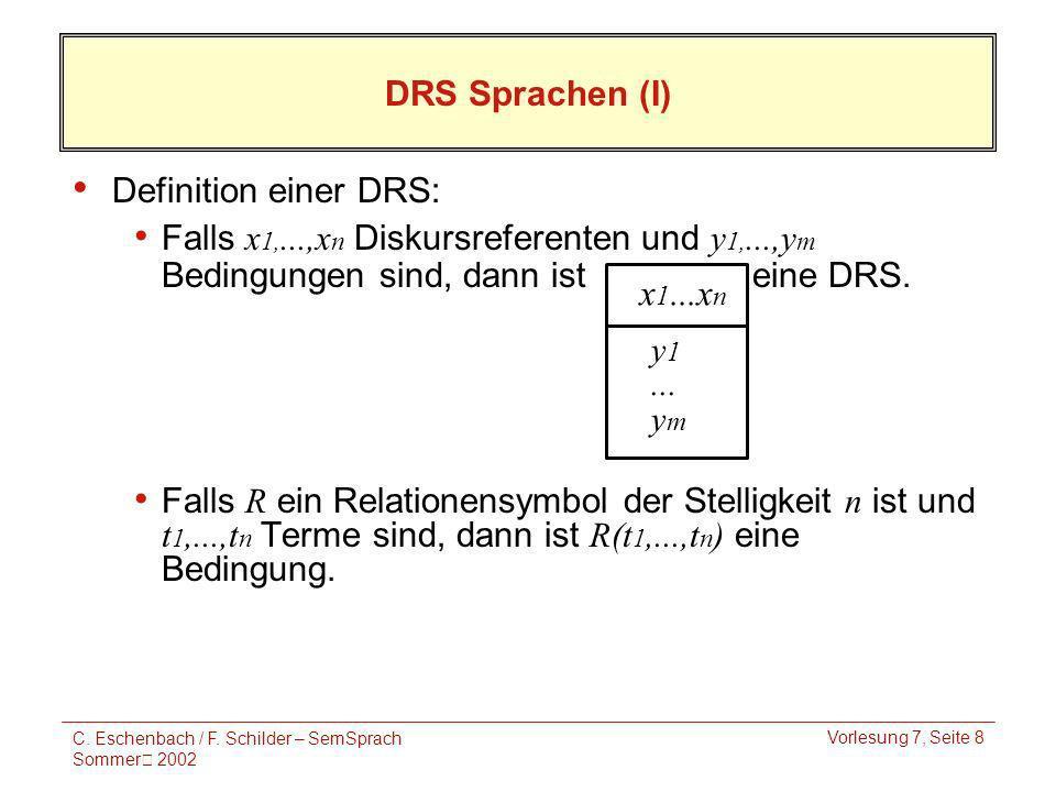 C. Eschenbach / F. Schilder – SemSprach Sommer 2002 Vorlesung 7, Seite 8 x 1...x n y 1...