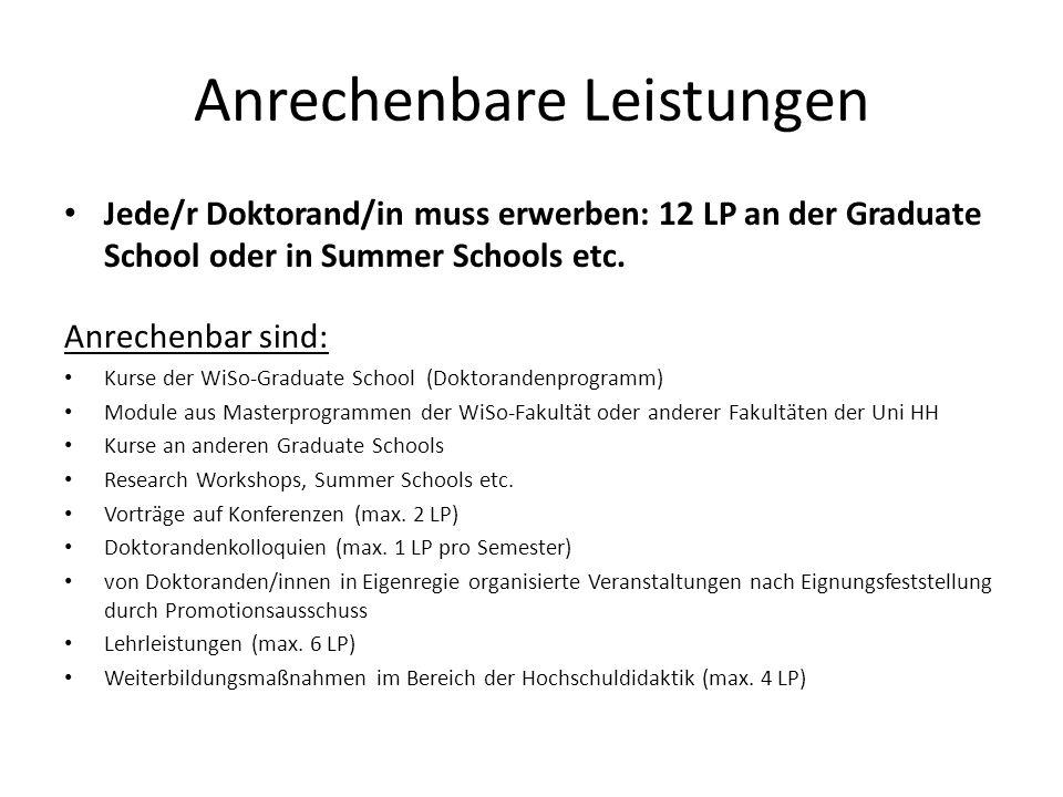 Anrechenbare Leistungen Jede/r Doktorand/in muss erwerben: 12 LP an der Graduate School oder in Summer Schools etc. Anrechenbar sind: Kurse der WiSo-G