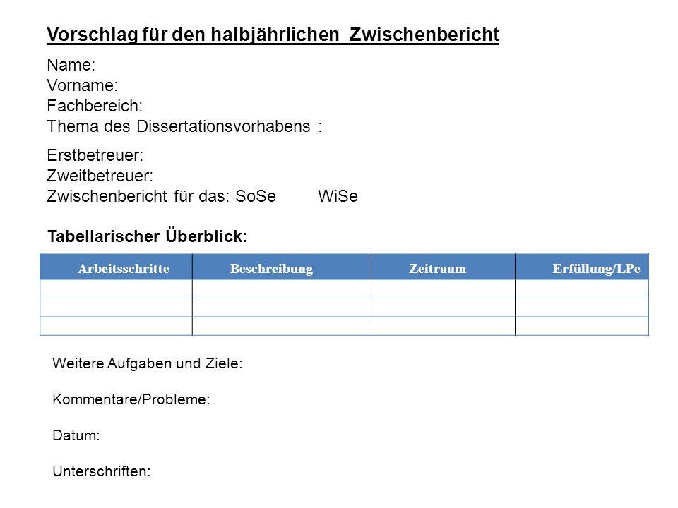 ArbeitsschritteBeschreibungZeitraumErfüllung/LPe Vorschlag für den halbjährlichen Zwischenbericht Name: Vorname: Fachbereich: Thema des Dissertationsv