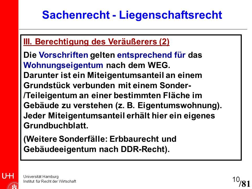 Universität Hamburg Institut für Recht der Wirtschaft 10 /81 Sachenrecht - Liegenschaftsrecht III. Berechtigung des Veräußerers (2) Die Vorschriften g