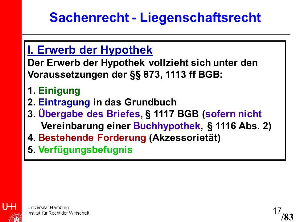 Universität Hamburg Institut für Recht der Wirtschaft 17 /83 Sachenrecht - Liegenschaftsrecht I. Erwerb der Hypothek Der Erwerb der Hypothek vollzieht